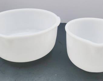 Vintage Set of Glasbake Milk Glass Sunbeam Stand Mixer Mixing Bowls (set of 2)