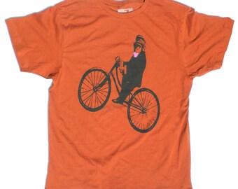 Men's Monkey Bicycle TShirt, in Rust Orange