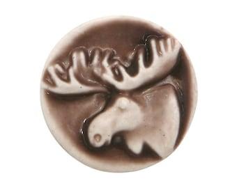 Moose 11/16 inch (18 mm ) Susan Clarke Art Stone Button Chocolate Color