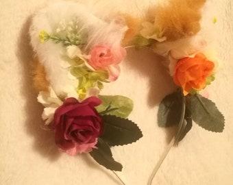 3D Adjustable Spring Floral Fox Ears Flower Crown