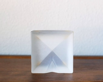 Mid Century square concave diamond frosted glass ash tray catch all dish modern