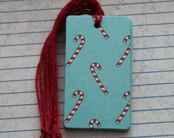 16 Christmas gift tags candycanes patterned paper over chipboard tags...