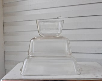 Vintage Pyrex Clear Fridgies- 503-502-501-set of 3-Refrigerator Dish Set