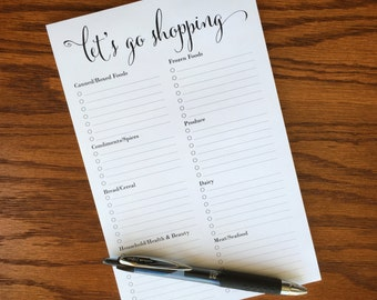 Grocery list notepad, grocery shopping list pad, shopping list notepad, weekly groceries, grocery list with categories, groceries by aisle