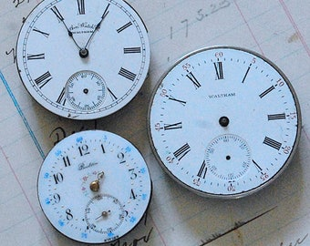 3 Vintage Pocket Watch Faces with Parts