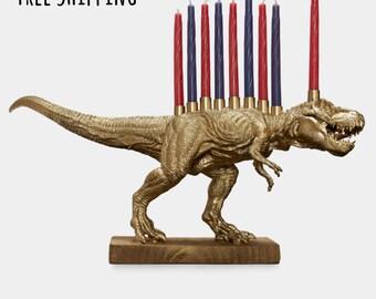 Pre-order for Hanukkah 2018: Gold Dinosaur Menorah