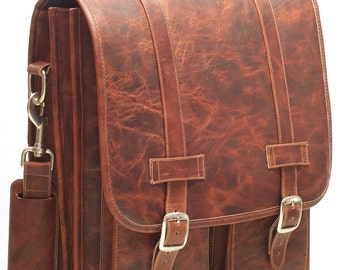 DIAZ Large Geunine Leather Satchel / Backpack Laptop Messenger Bag Briefcase in Crazy Horse Dark Brown - (17in MacBook Pro)