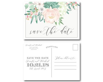 Vintage Wedding Save the Date, Floral Save the Date, Vintage Floral, Floral Wedding, Vintage Wedding, Save the Date, Wedding Postcard #CL180
