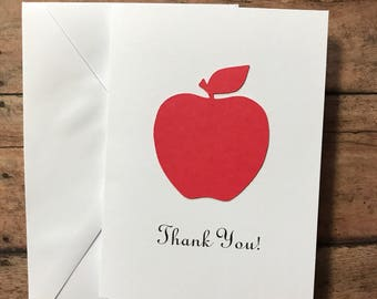 Red Apple Card Set, Thank You Card Set, Greeting Cards, Stationery Set, Teacher Card Set, Blank Note Cards and Envelopes
