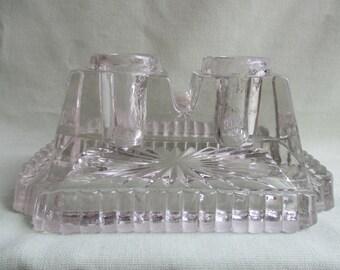 Art Deco / Pressed glass / Sunburst pattern / Double inkwell / Pen stand / Desk ornament