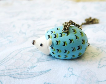 Hedgehog  necklace  - hedgehog ring -  Free  gift