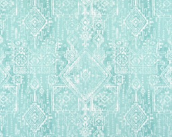 Aqua Southwest Tribal Cotton Fabric by the Yard Designer Western Drapery Curtain Fabric Upholstery Fabric Home Decor or Craft Fabric M260
