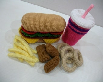 Crochet Pattern - FAST FOOD - Toys - PDF  (00353)