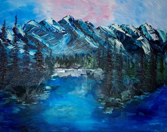 Original Art Print. Mountain water landscape original oil painting by BrandanC