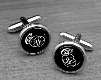 Monogram Cuff links initials Personalized Monogram Cufflink, Monogram Letter Cufflink, Custom Name Initial Cufflink and tie clips
