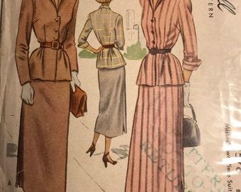 Classy 1940s McCall Suit Pattern, B34