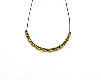 Oxidized Brass Necklace-Choker Necklace-Gold Tube Necklace-Greek Inspired-Statement Necklace-Tube Jewelry-Greek Modern Jewellery