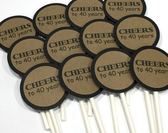 40th Cupcake Toppers - Cheers to 40 Years, Black and Kraft Brown or Your Choice of Colors, Set of 12