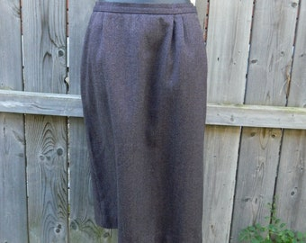 Brown Houndstooth Wool Winter A-Line Skirt, Vintage 1960s Midi Skirt, American Made Brown Skirt Size Medium Skirt, Brown Wool Skirt Sz M