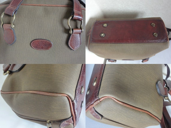 Mulberry Vintage Mulberry Khaki Shoulder Bag With Fabric And Brown Leather Mix Trimmings m8iEF