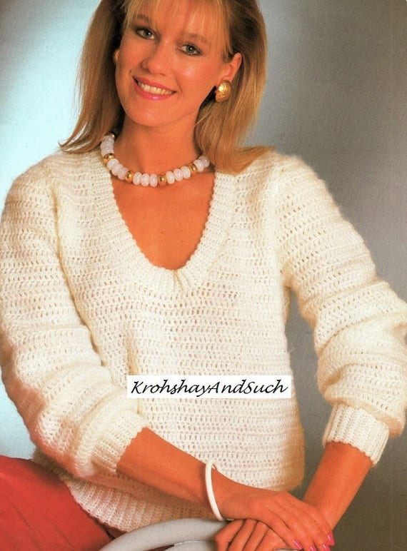 Ladies V Neck Sweater Crochet Pattern Pdf Instant Download