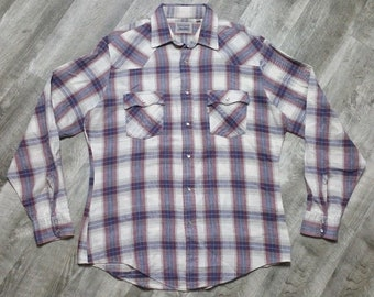 Vintage Levis Pearl Snap Western Shirt Plaid Flannel size Large