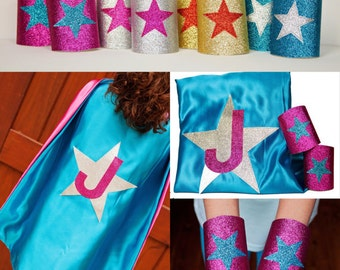 Superhero Costume for Girls - Superhero Cape Set - Sparkle Shape and Initial Cape - Glitter Superhero Cuffs - Ships Quickly
