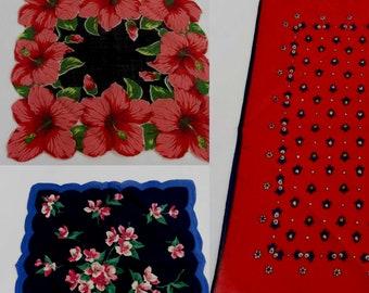 Vintage Handkerchiefs - Three Vintage Hankies - Red and Blue - 1950s Vintage