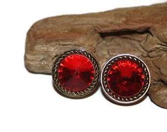 Large Red Gem Earrings, Large Red Earrings, Large Red Jewelry, Vintage Jewelry, 1980s Earrings, 1980s Earrings, Retro Fashion Accessories