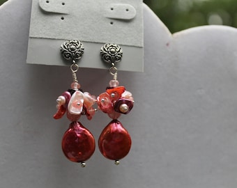 Coral Peach Coin Pearl Drop Keishi Pearl Cluster Sterling Silver Earrings