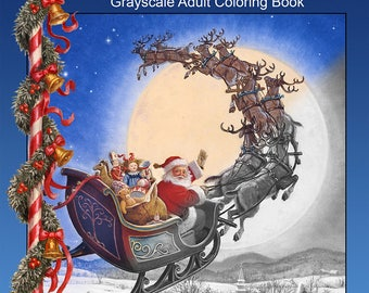Santa's Christmas Grayscale Adult Coloring Book—24 images PDF Download