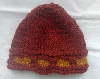 Women hat. Marsala terracotta  and butterscotch colors.  Super bulky wool  Medium size  Hand knit  Ready to ship