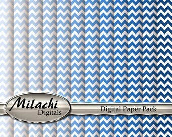 60% OFF SALE Shades of Blue Chevron Digital Paper Pack - Commercial Use - Instant Download - M66