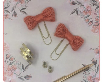 One Large Coral Crochet Bow Large Gold Paper Clip