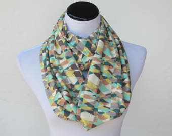 Mustard scarf Infinity scarf teal turquoise mustard soft jersey knit scarf circle scarf loop scarf birthday gift for woman