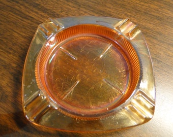 """Vintage Jeanette Glass Ash Tray / Coaster - Louisa Irridescent Florigold - 4"""" X 4"""" - Great Find!"""
