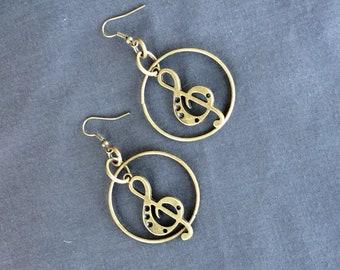 Treble Clef brass in Hoop Earrings