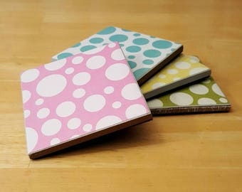 Coasters, Circles, Bubbles, Dots, Round, Hand, Painted, White, Blue, Green, Yellow, Pink, 4x4