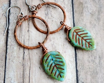 Nature Earrings with Green Leaves on Hammered Copper Rings
