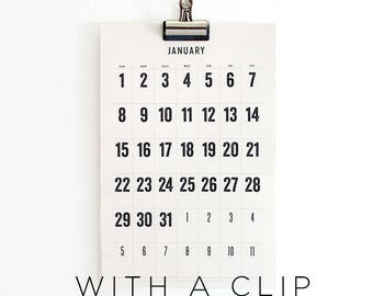 2018 Wall Calendar with a Clip,  typographic, simple, large dates