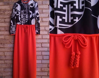ON SALE / 1970s Maxi Dress Bleeker Street Black White and Red