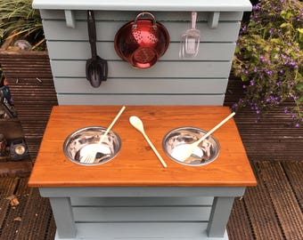 Mud Kitchen Children's Outdoor Play Furniture - Hand made from Wood - Messy Sensory Play