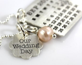 Mark Your Calendar Necklace with Our Wedding Day Flower Charm - personalized sterling silver necklace with pearl