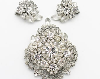 Juliana Silver Scrolls and Clear Rhinestones Rare Set