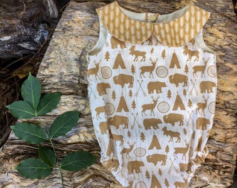 Natural Woodland and Tee Pee Print baby romper with arrow straps, unisex newborn gift, cotton,handmade baby outfit, multiple sizes