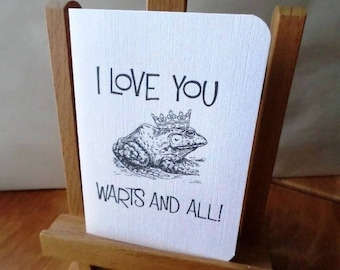 Greeting card 'I love you warts and all' 'I love you even with your kinks.' Valentine's day