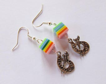 """Earrings """"painter"""" silver metal with beads and palettes"""