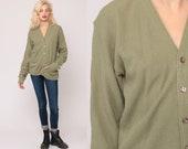 Olive Green Sweater Grandpa Cardigan Boho Sweater Plain Button Up 80s Grunge Slouchy Acrylic Knit Vintage Oversize Small Medium