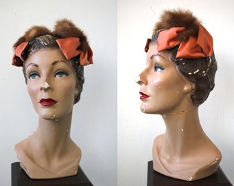 vintage 1950s mink and satin hat / 50s pasadena hats / 50s peach fascinator / 50s cocktail hat / 50s mink trim headband hat