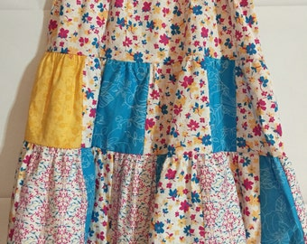 Girls size 8 modest three tier skirt in teal pink and yellow